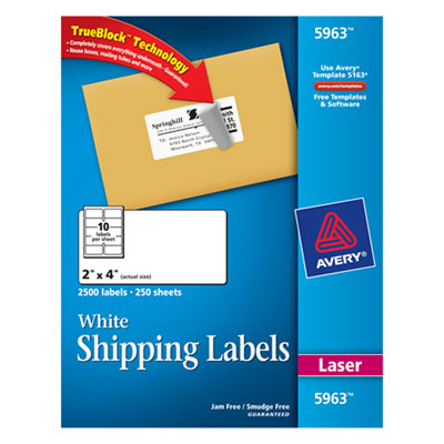 ave5963 shipping labels with trueblock technology laser 2 x 4 white 2500 box. Black Bedroom Furniture Sets. Home Design Ideas