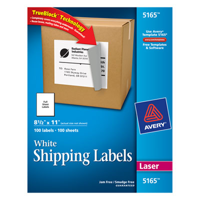 ave5165 shipping labels with trueblock technology laser 8 1 2 x 11 white 100 box. Black Bedroom Furniture Sets. Home Design Ideas