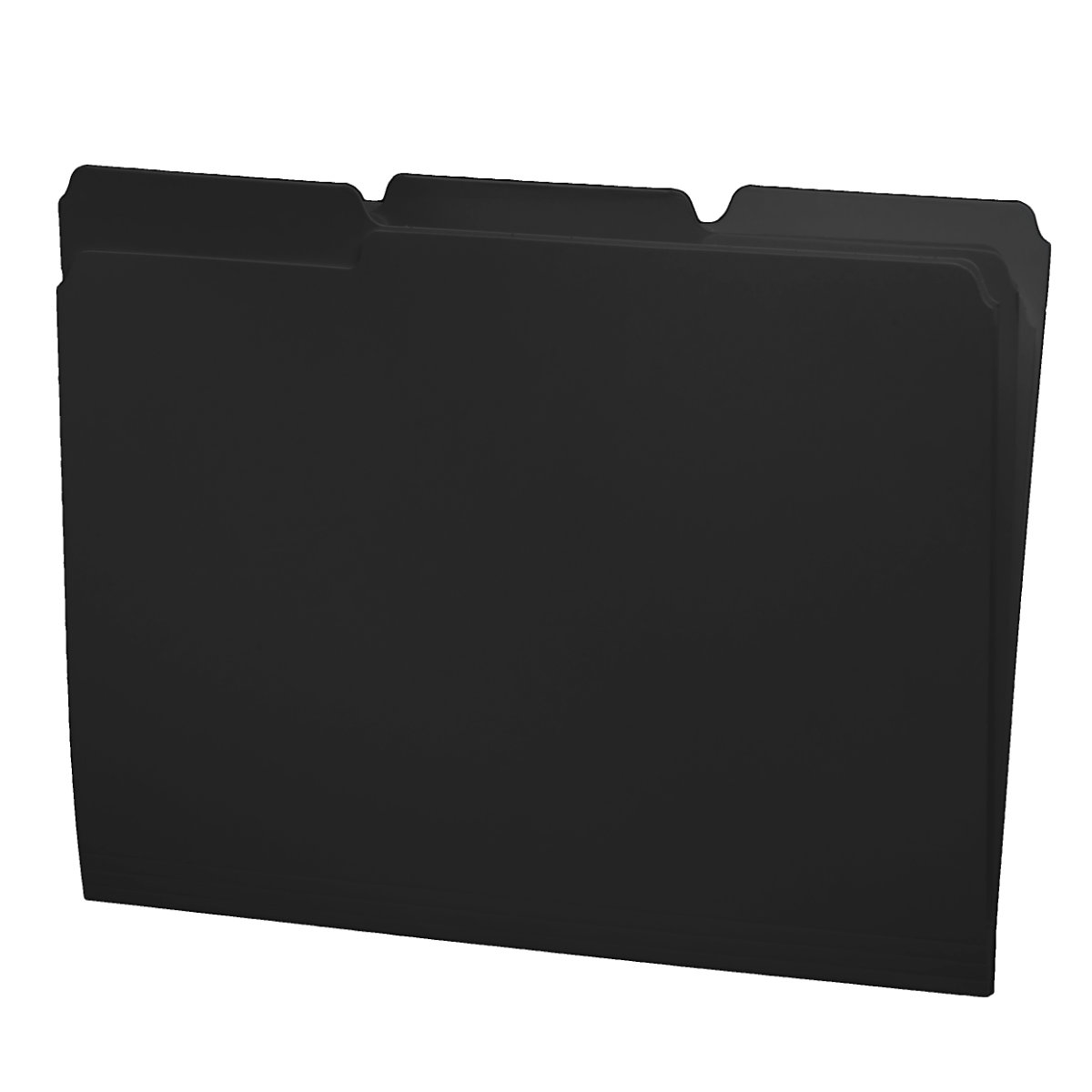 S-30503-BLK - 11 pt Black Folders, 1/3 Cut Top Tab - Assorted, Letter Size (Box of 100)