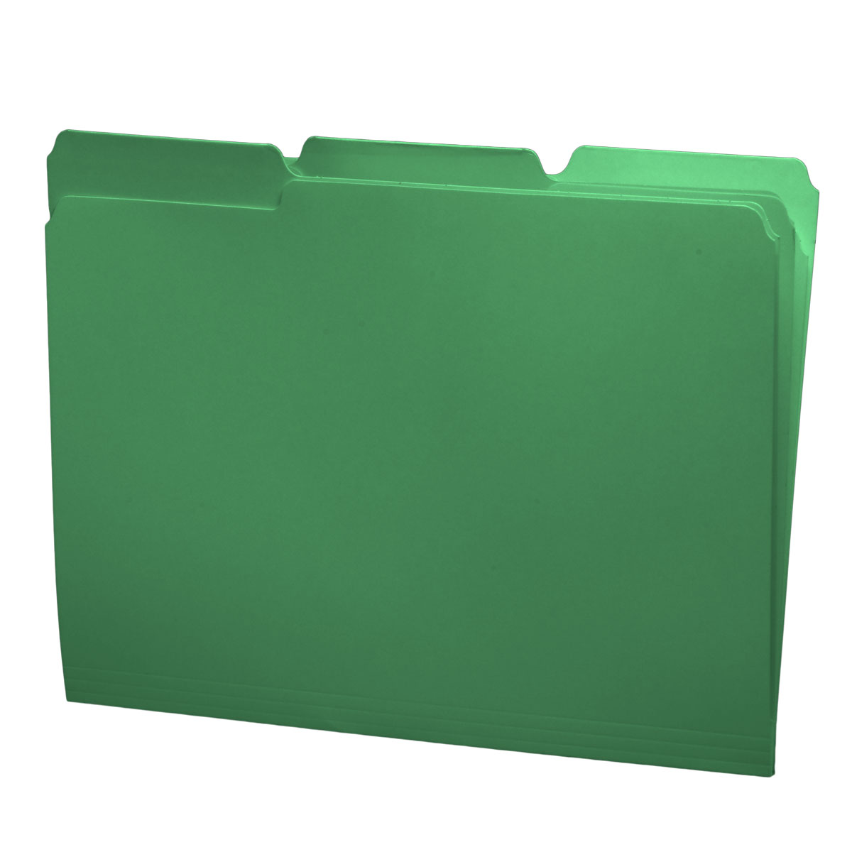 S-30503-GRN - 11 pt Green Folders, 1/3 Cut Top Tab - Assorted, Letter Size (Box of 100)