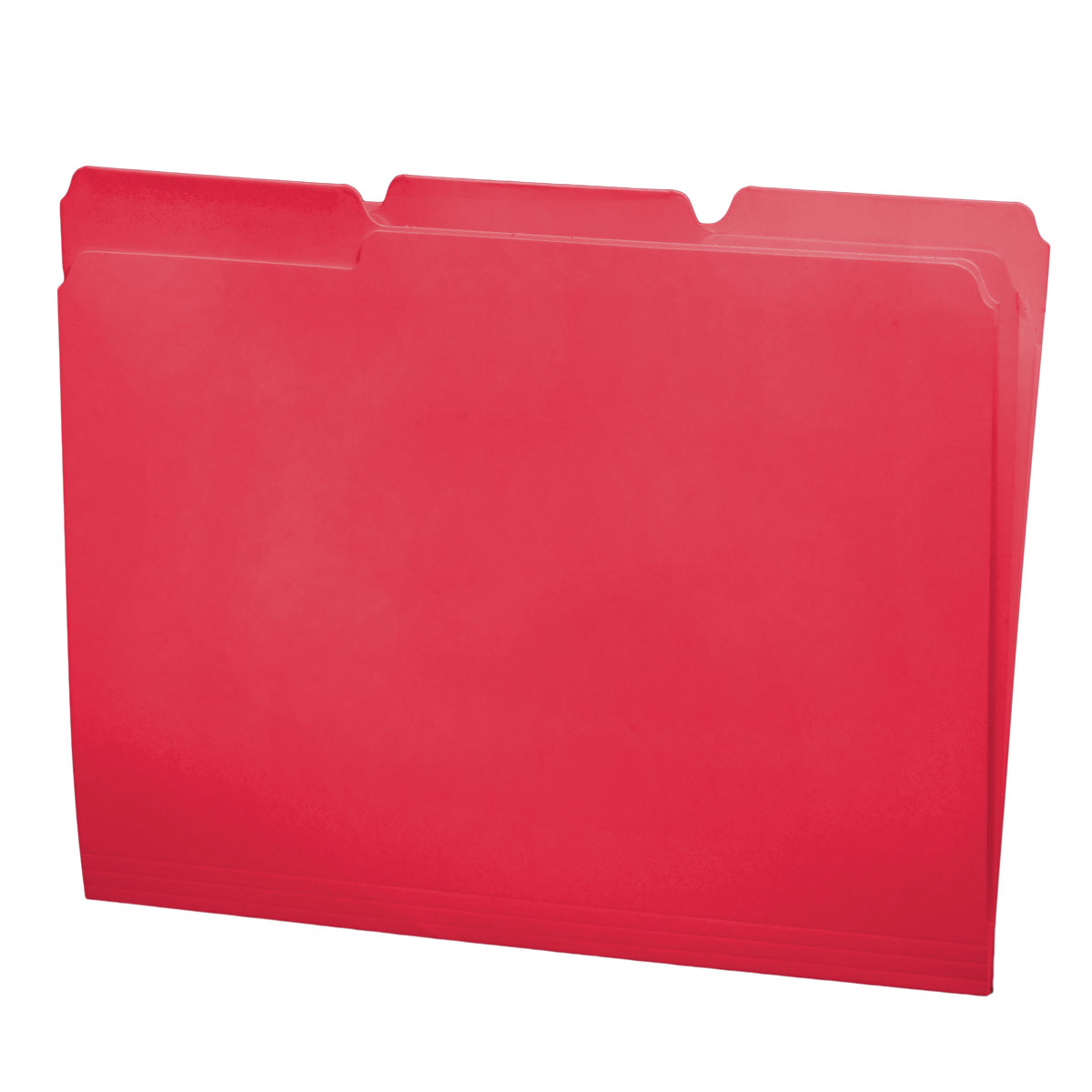 S-30503-RED - 11 pt Red Folders, 1/3 Cut Top Tab - Assorted, Letter Size (Box of 100)