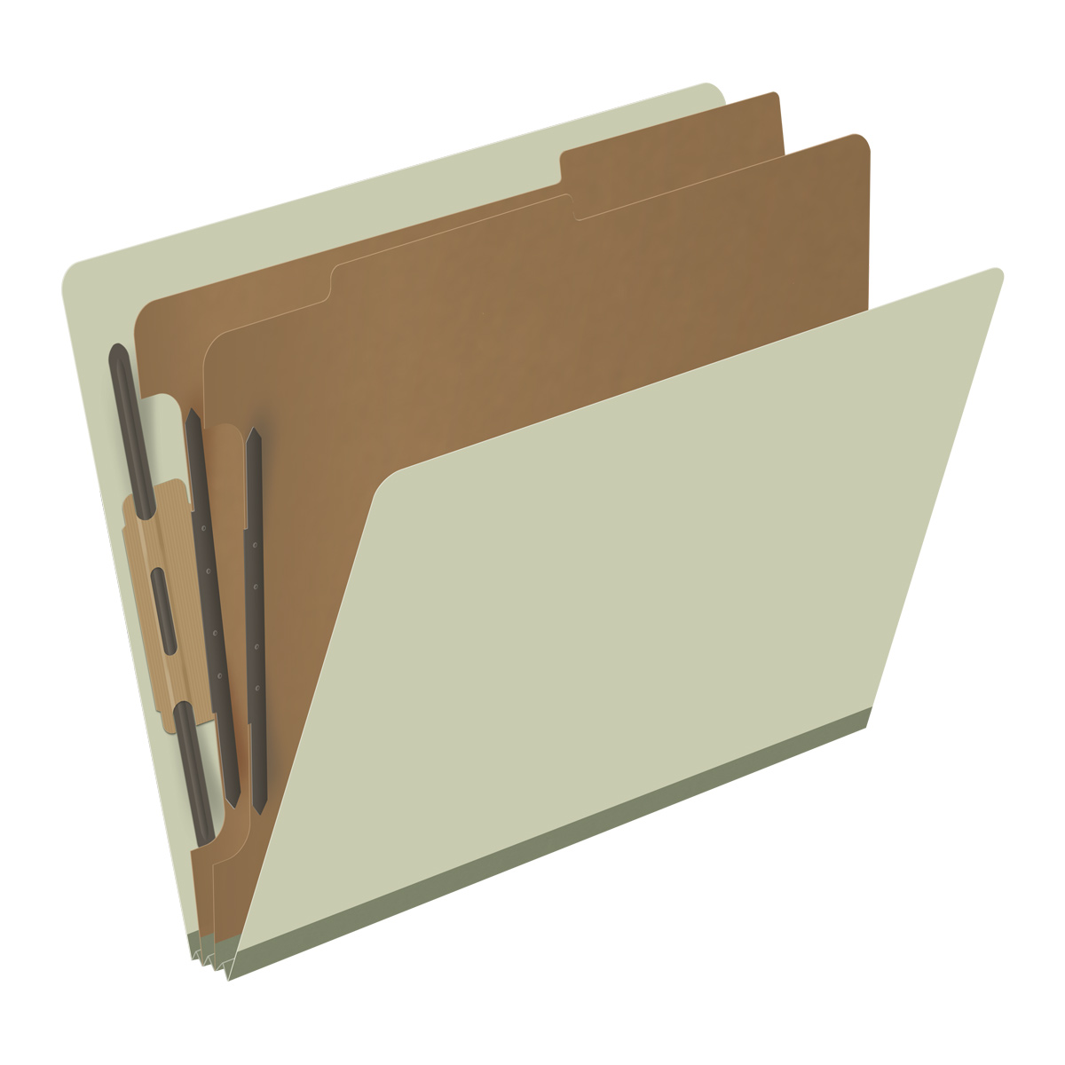 DV-S42-26-3GRN - Pressboard Classification Folders, Full Cut End Tab, Letter Size, 2 Dividers, Pale Green (Box of 10)