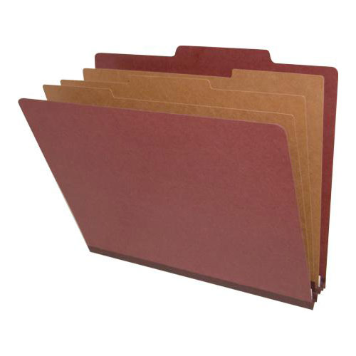 DV-T43-38-2RED - 25 Pt. Pressboard Classification Folders, 2/5 Cut ROC Top Tab, Letter Size, 3 Dividers, Brown Red (Box of 10)