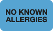 S-1510 - Allergy Warning Labels, NO KNOWN ALLERGIES - Lt Blue, 1-1/2