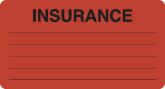 "S-8008 - Insurance Labels, INSURANCE - Fl Red, 3-1/4"" X 1-3/4"" (Roll of 250)"