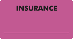 "S-8006 - Insurance Labels, INSURANCE - Fl Pink, 3-1/4"" X 1-3/4"" (Roll of 250)"