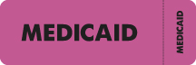 "S-3090 - Insurance Labels, MEDICAID - Fl Pink (Wrap-around), 3"" X 1"" (Roll of 250)"