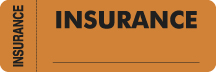 S-3140 - Insurance Labels, INSURANCE - Fl Orange (Wrap-around), 3&#34 X 1&#34 (Roll of 250)