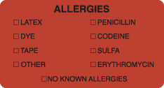 "S-3250 - Allergy Warning Labels, ALLERGIES - Fl Red, 3-1/4"" X 1-3/4"" (Roll of 250)"