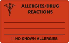 """S-8003 - Allergy Warning Labels, ALLERGIES/DRUG REACTIONS - Fl Red, 4"""" X 2-1/2"""" (Roll of 100)"""