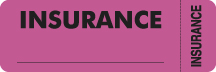 "S-6420 - Insurance Labels, INSURANCE - Fl Pink (Wrap-around), 3"" X 1"" (Roll of 250)"