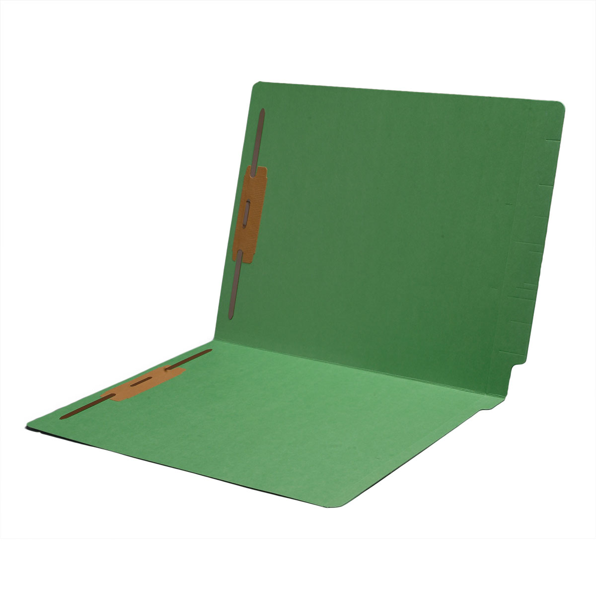 S-1502-GRN - 11 pt Color Folders, Full Cut 2-Ply End Tab, Letter Size, Fasteners Pos #1 & #3, Green (Box of 50)