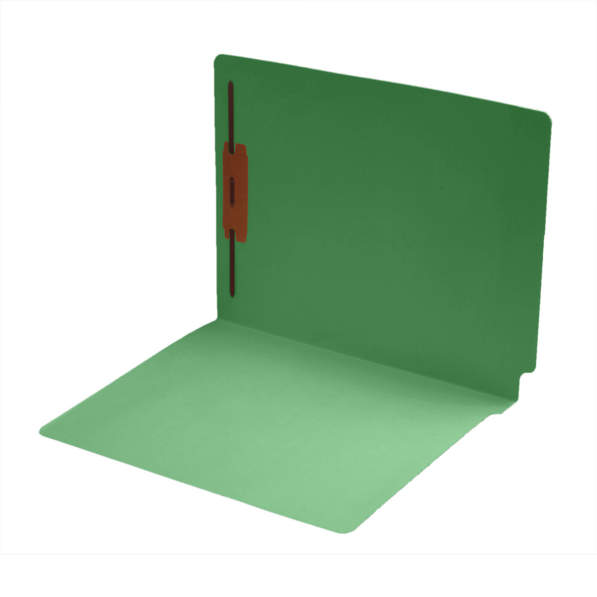 S-1601-GRN - 14 pt Color Folders, Full Cut 2-Ply End Tab, Letter Size, Fastener Pos #1, Green (Box of 50)
