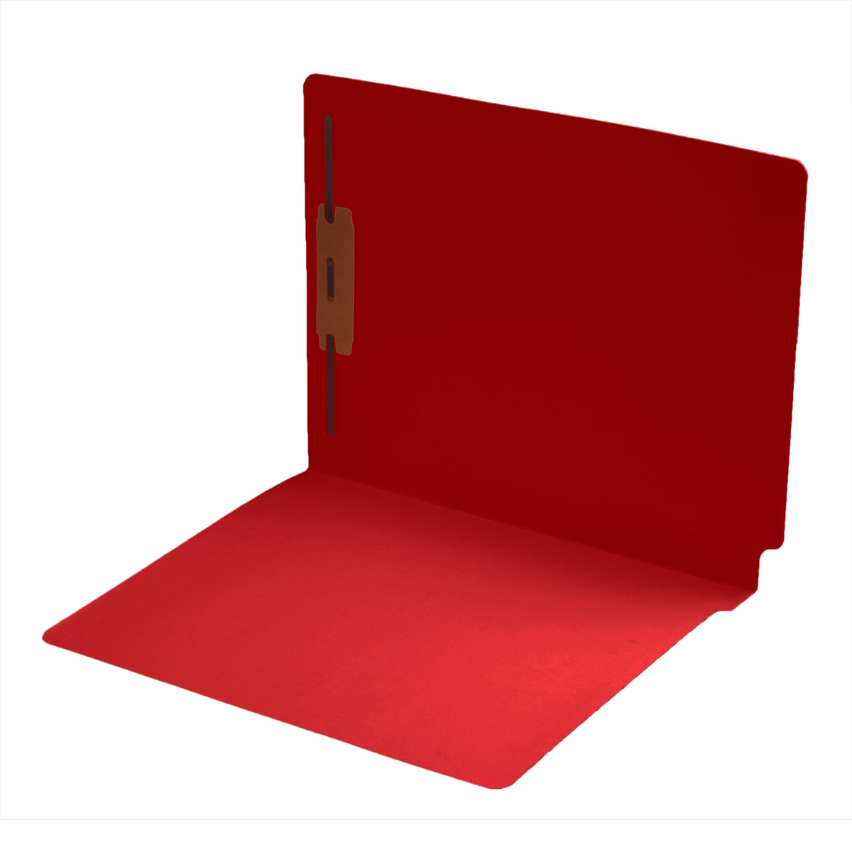 S-1601-RED - 14 pt Color Folders, Full Cut 2-Ply End Tab, Letter Size, Fastener Pos #1, Red (Box of 50)