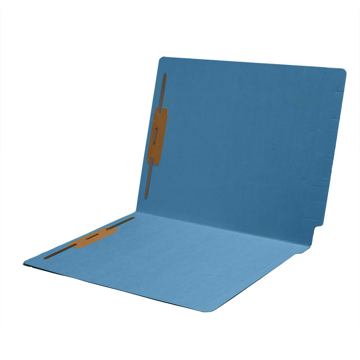 S-1602-BLU - 14 pt Color Folders, Full Cut 2-Ply End Tab, Letter Size, 2 Fasteners in Pos #1 & #3, Blue (Box of 50)