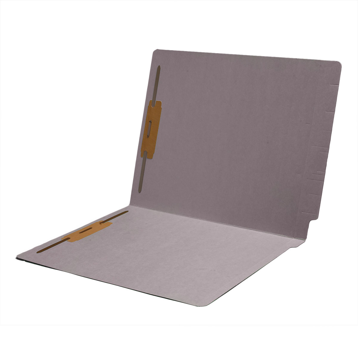 S-1602-GRY - 14 pt Color Folders, Full Cut 2-Ply End Tab, Letter Size, 2 Fasteners in Pos #1 & #3, Gray (Box of 50)