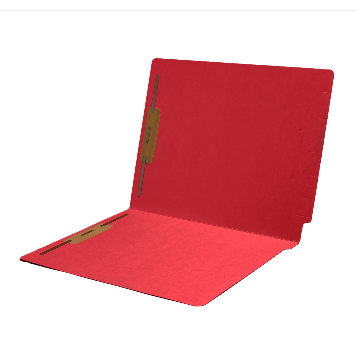 S-1602-RED - 14 pt Color Folders, Full Cut 2-Ply End Tab, Letter Size, 2 Fasteners in Pos #1 & #3, Red (Box of 50)