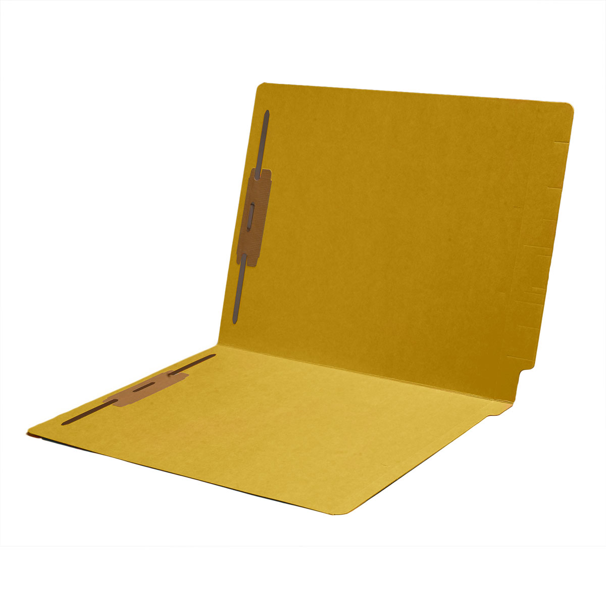 S-1602-YLW - 14 pt Color Folders, Full Cut 2-Ply End Tab, Letter Size, 2 Fasteners in Pos #1 & #3, Yellow (Box of 50)