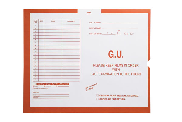 "S-18701 - G.U. (Genito-Urinary), Orange #165 - Category Insert Jackets, System I, Open End - 14-1/4"" x 17-1/2"" (Carton of 250)"