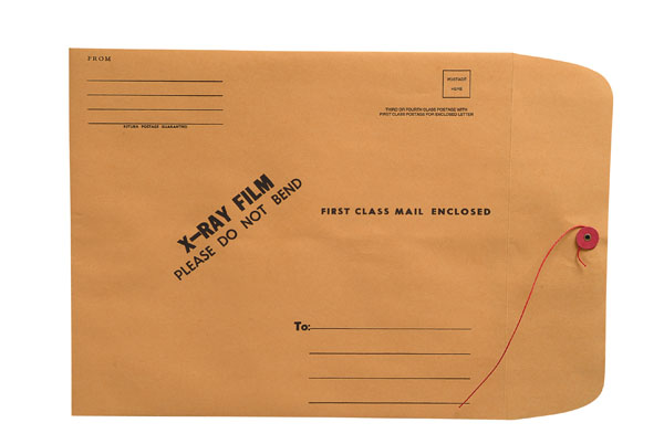 """S-18703 - X-Ray Film Mailers, 28lb Brown Kraft, 11"""" x 13"""", String and Button Closure (Carton of 100)"""