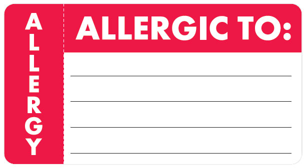 S-3300 - Allergy Warning Labels, ALLERGIC TO: - Red/White (Wrap Around), 3-1/4