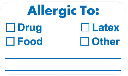 S-3370 - Allergy Warning Labels, ALLERGIC TO: - White, 1-1/2