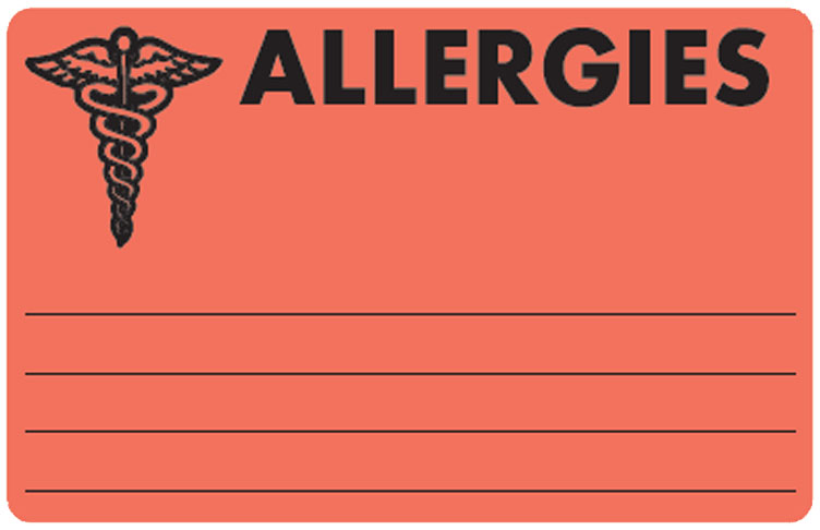 S-486 - Allergy Warning Labels, ALLERGIC - Fl Red, 4