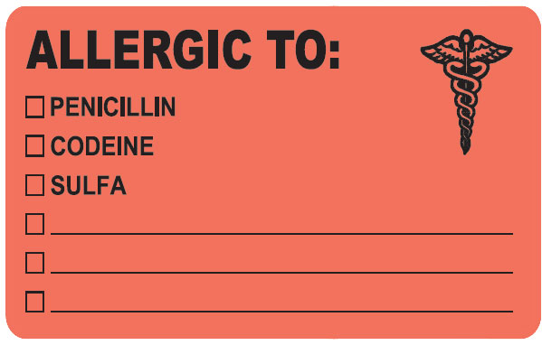S-488 - Allergy Warning Labels, ALLERGIC TO: - Fl Red, 4