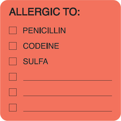 S-4890 - Allergy Warning Labels, ALLERGIC TO: - Fl Red 2
