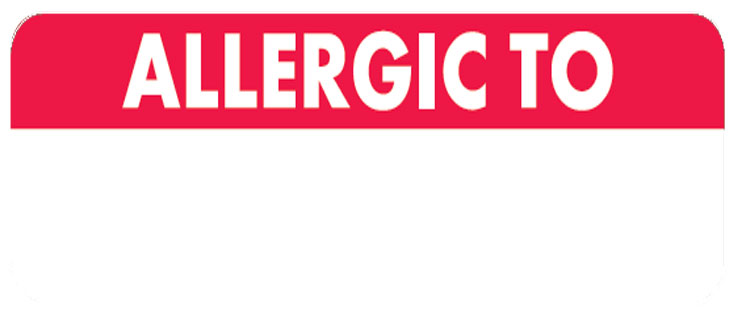 S-498 - Allergy Warning Labels, ALLERGIC TO - Red/White, 2 1/2