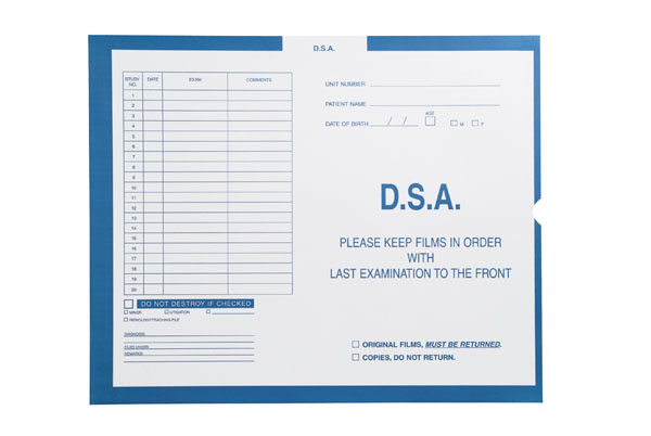 """S-5434 - D.S.A., Blue #299 - Category Insert Jackets, System II, Open End - 14-1/4"""" x 17-1/2"""" (Carton of 250)"""