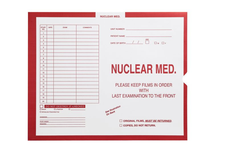 """S-54946 - Nuclear Medicine, Red #185 - Category Insert Jackets, System I, Open End - 14-1/4"""" x 17-1/2"""" (Carton of 250)"""