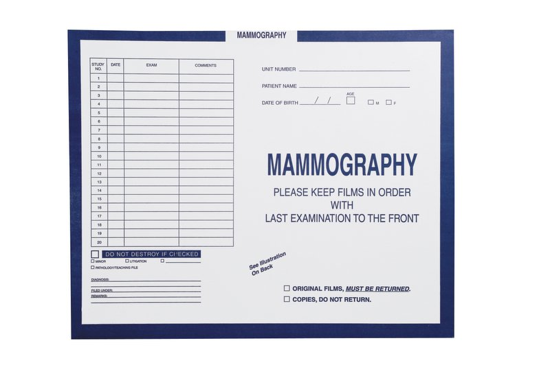 """S-54967 - Mammography, Dark Blue #287 - Category Insert Jackets, System I, Open Top - 14-1/4"""" x 17-1/2"""" (Carton of 250)"""