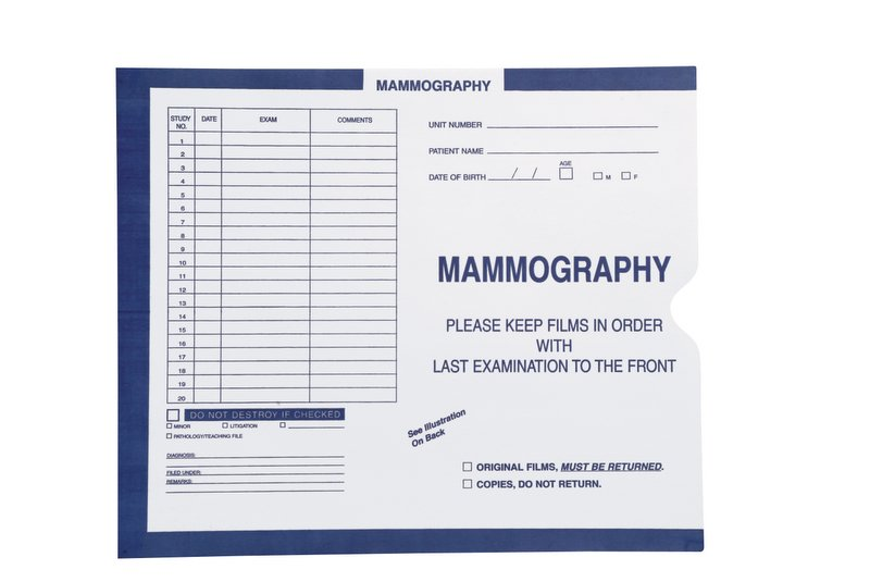 "S-54981 - Mammography, Dark Blue #287 - Category Insert Jackets, System I, Open End - 10-1/2"" x 12-1/2"" (Carton of 500)"