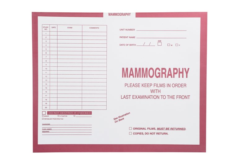 """S-54992 - Mammography, Pink #190 - Category Insert Jackets, System II, Open Top - 14-1/4"""" x 17-1/2"""" (Carton of 250)"""