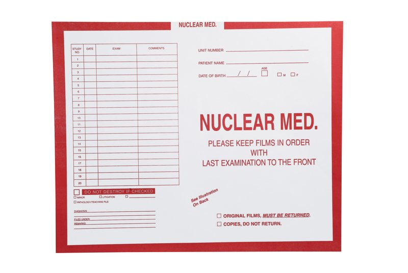 "S-57236 - Nuclear Medicine, Red #185 - Category Insert Jackets, System I, Open Top - 14-1/4"" x 17-1/2"" (Carton of 250)"
