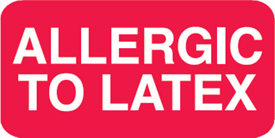 S-6260 - Allergy Warning Labels, ALLERGIC TO LATEX - Red, 1-1/2