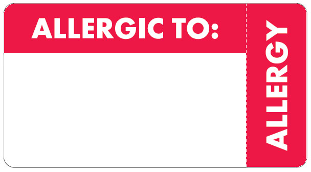 S-6440 - Allergy Warning Labels, ALLERGIC TO: - Red/White (Wrap Around), 3-1/4