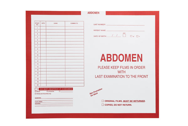 "S-6625 - Abdomen, Red #185 - Category Insert Jackets, System II, Open Top - 14-1/4"" x 17-1/2"" (Carton of 250)"