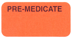 S-8031 - Reminder Labels, PRE-MEDICATED - Fl Red, 1-1/2