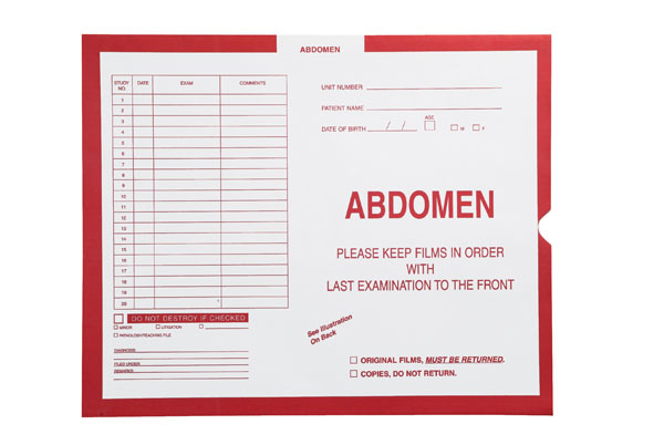 "S-82138 - Abdomen, Red #185 - Category Insert Jackets, System II, Open End - 14-1/4"" x 17-1/2"" (Carton of 250)"