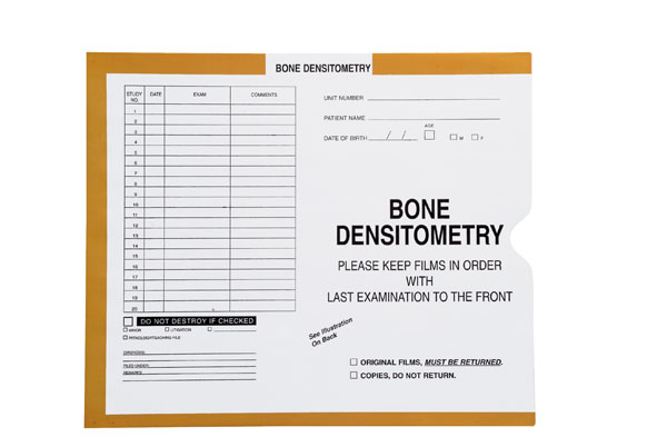"""S-83608 - Bone Densitometry, Yellow/Green #381 - Category Insert Jackets, System I, Open End - 10-1/2"""" x 12-1/2"""" (Carton of 500)"""