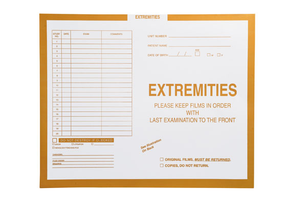 "S-86650 - Extremities, Yellow #109 - Category Insert Jackets, System I, Open End - 14-1/4"" x 17-1/2"" (Carton of 250)"