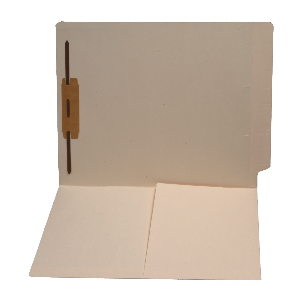 S-9004 - 11 pt Manila Folders, Full Cut End Tab, Letter Size, 1/2 Pocket Inside Front, Fastener Pos #1 (Box of 50)