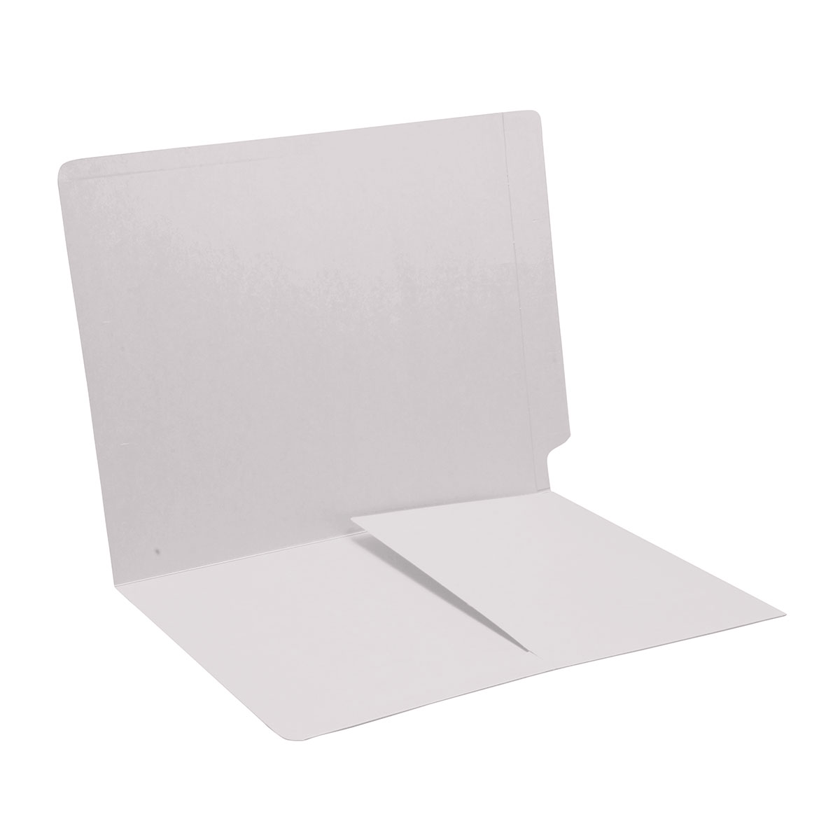 S-9007-WHT - 11 pt White Folders, Full Cut End Tab, Letter Size, 1/2 Pocket Inside Front (Box of 50)