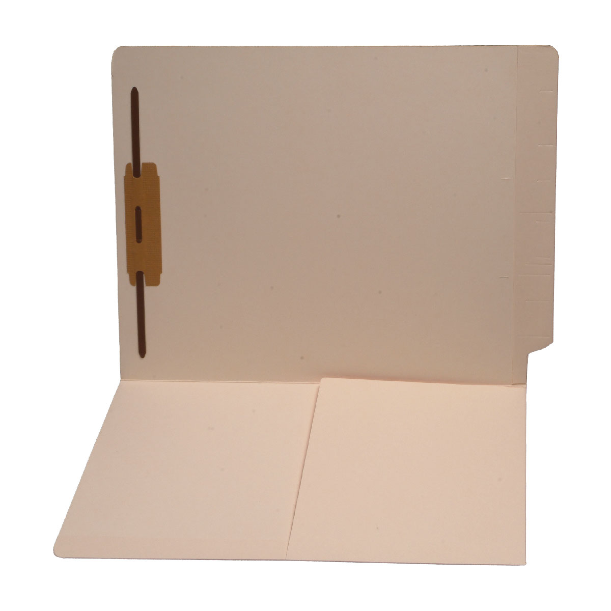 S-9008 - 14 pt Manila Folders, Full Cut End Tab, Letter Size, 1/2 Pocket Inside Front, Fastener Pos #1 (Box of 50)