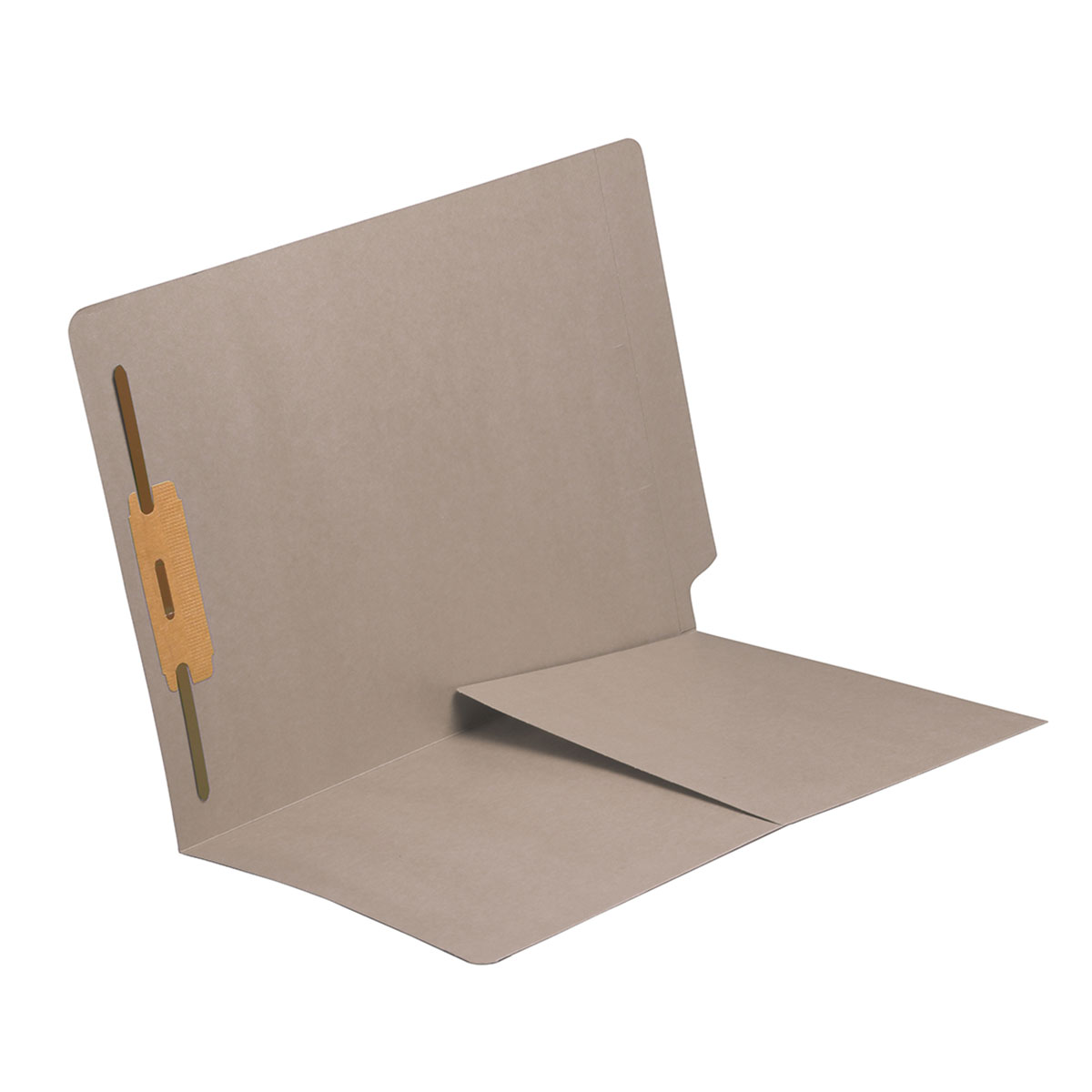 S-9010-GRY - 14 pt Gray Folders, Full Cut End Tab, Letter Size, 1/2 Pocket Inside Front, Fastener Pos #1 (Box of 50)