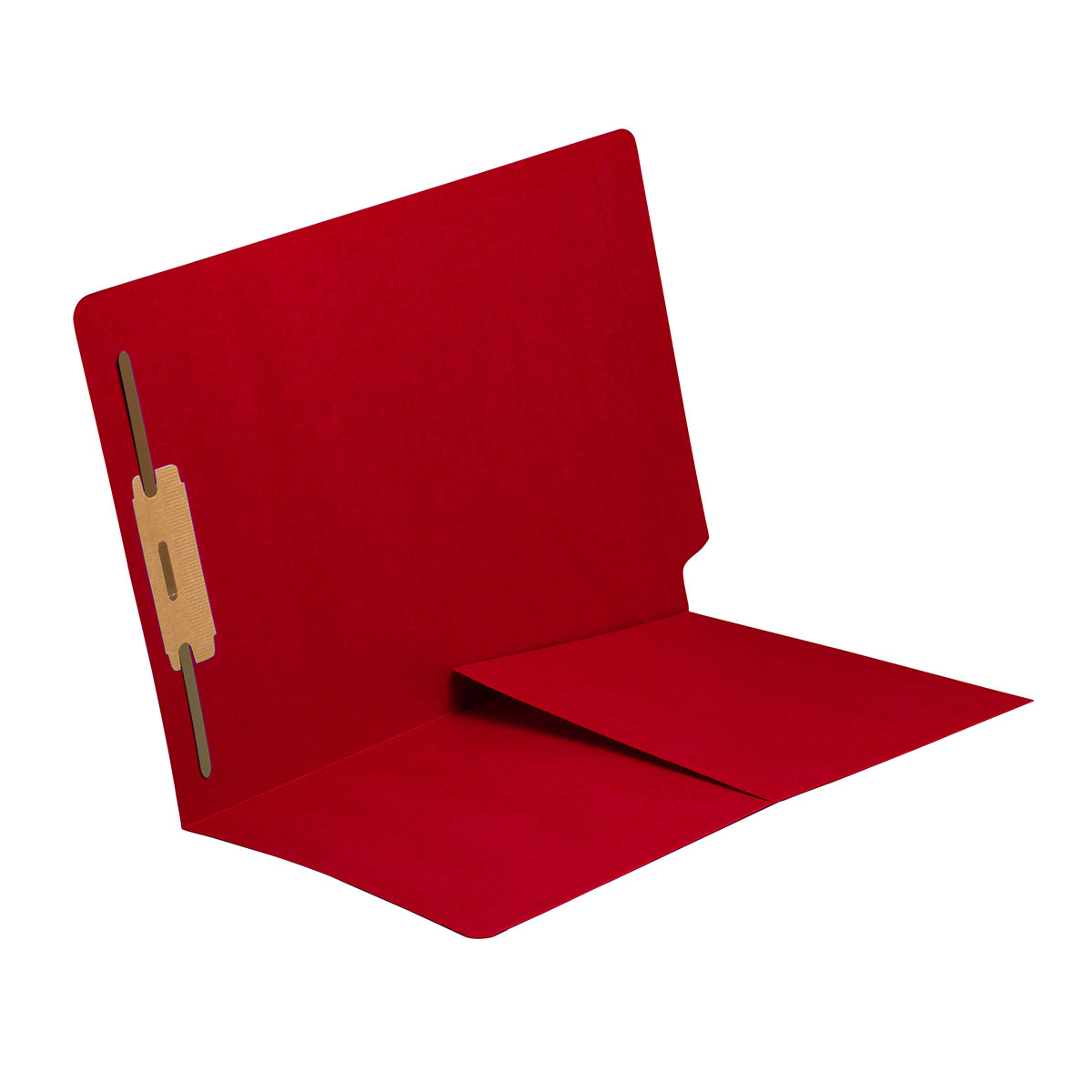 S-9010-RED - 14 pt Red Folders, Full Cut End Tab, Letter Size, 1/2 Pocket Inside Front, Fastener Pos #1 (Box of 50)
