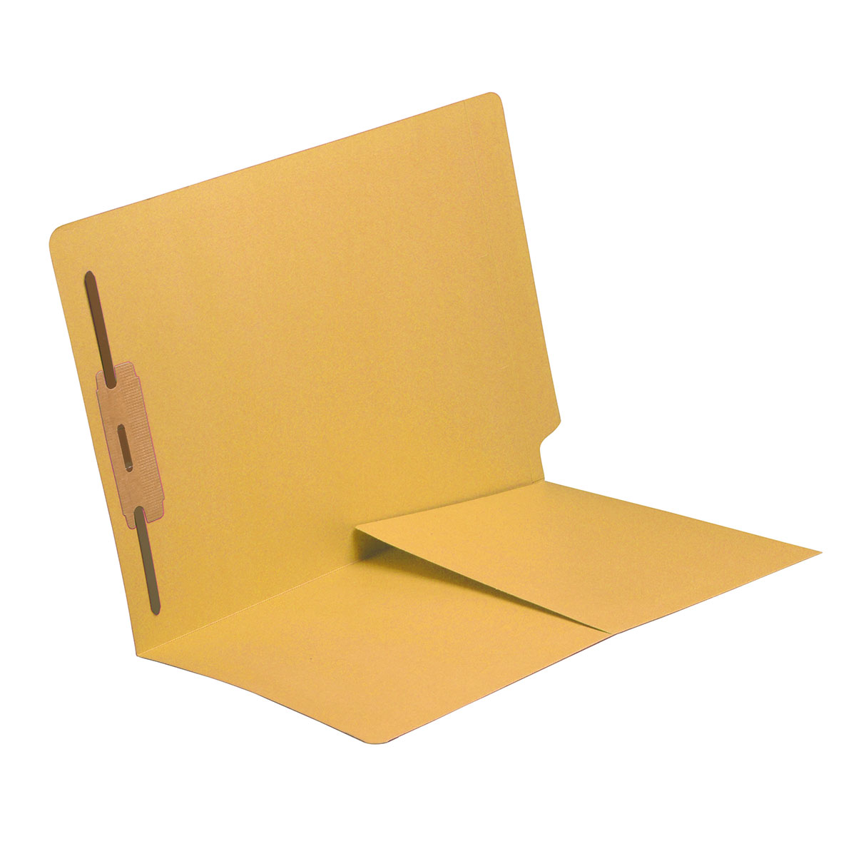 S-9010-YLW - 14 pt Yellow Folders, Full Cut End Tab, Letter Size, 1/2 Pocket Inside Front, Fastener Pos #1 (Box of 50)