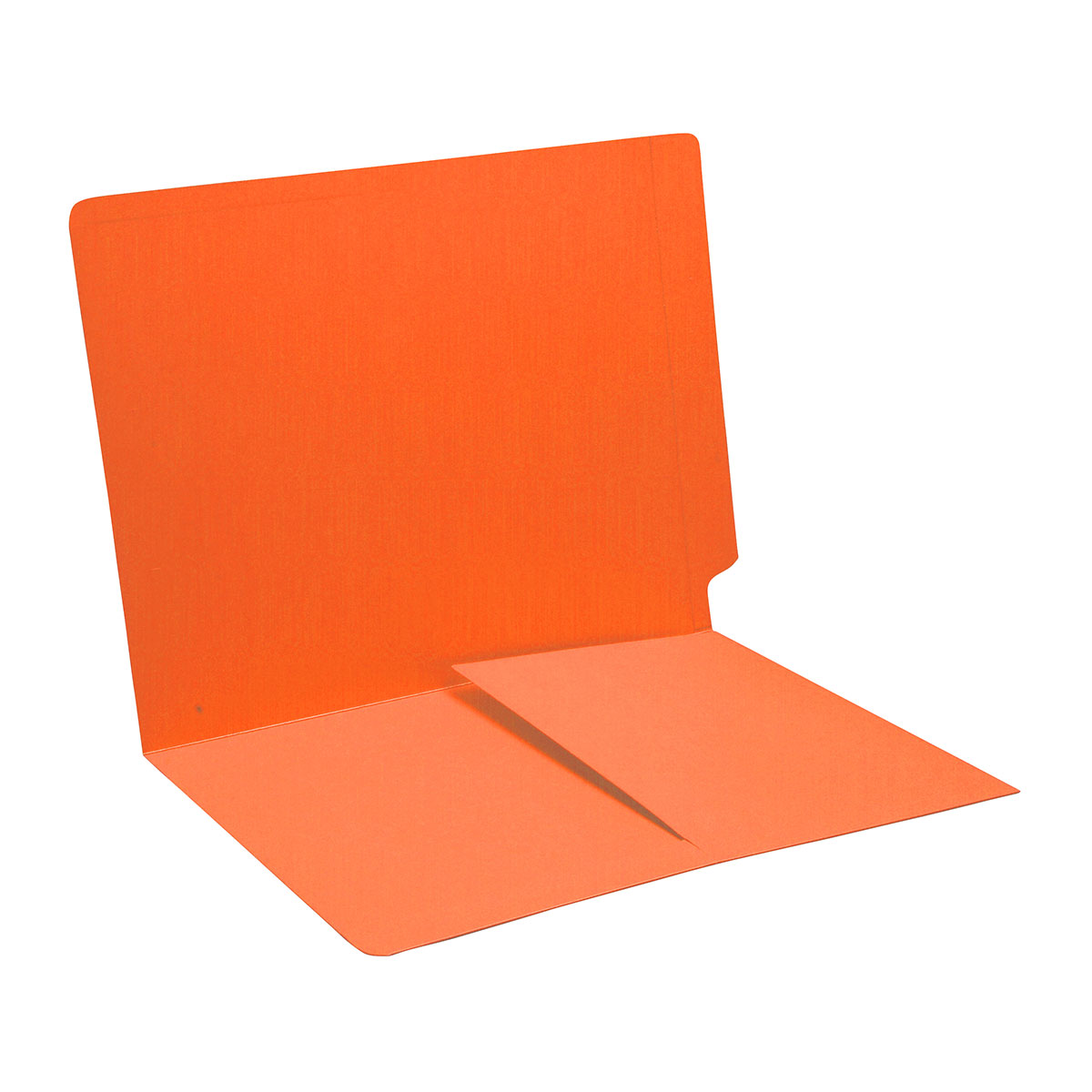 S-9011-ORG - 14 pt Orange Folders, Full Cut End Tab, Letter Size, 1/2 Pocket Inside Front (Box of 50)